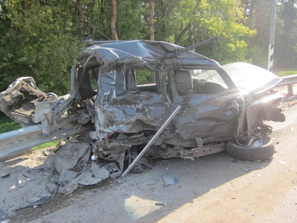 На 373 километре трассы М-2 «Крым» «Тагаз Тайгер» попал под «Камаз». Фото: Госавтоинспекция Орловской области